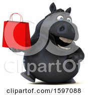 3d Chubby Black Horse Holding A Shopping Bag On A White Background
