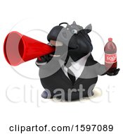 Clipart Of A 3d Chubby Black Business Horse Holding A Soda On A White Background Royalty Free Illustration