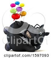 3d Chubby Black Business Horse Holding Messages On A White Background