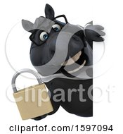 Clipart Of A 3d Chubby Black Business Horse Holding A Padlock On A White Background Royalty Free Illustration