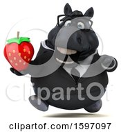 Clipart Of A 3d Chubby Black Business Horse Holding A Strawberry On A White Background Royalty Free Illustration