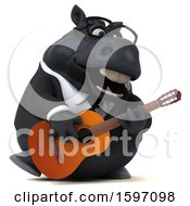 3d Chubby Black Business Horse Playing A Guitar On A White Background