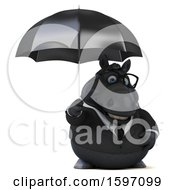 Clipart Of A 3d Chubby Black Business Horse Holding An Umbrella On A White Background Royalty Free Illustration