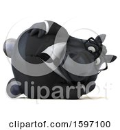 Clipart Of A 3d Chubby Black Business Horse Resting On His Side On A White Background Royalty Free Illustration