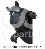 Clipart Of A 3d Chubby Black Horse Holding A Thumb Down On A White Background Royalty Free Illustration