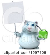 Clipart Of A 3d White Kitty Cat Holding A Gas Can On A White Background Royalty Free Illustration