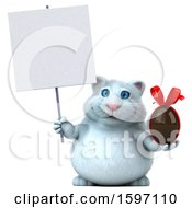 Clipart Of A 3d White Kitty Cat Holding A Chocolate Egg On A White Background Royalty Free Illustration