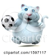 Clipart Of A 3d White Kitty Cat Holding A Soccer Ball On A White Background Royalty Free Illustration