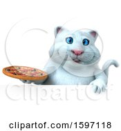 Clipart Of A 3d White Kitty Cat Holding A Pizza On A White Background Royalty Free Illustration