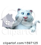 Clipart Of A 3d White Kitty Cat Holding A House On A White Background Royalty Free Illustration