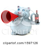 Clipart Of A 3d White Kitty Cat Holding Wine On A White Background Royalty Free Illustration