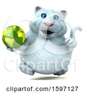 Clipart Of A 3d White Kitty Cat Holding Globe On A White Background Royalty Free Illustration