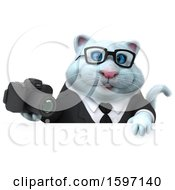 Clipart Of A 3d White Business Kitty Cat Holding A Camera On A White Background Royalty Free Illustration