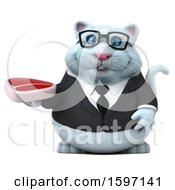 Clipart Of A 3d White Business Kitty Cat Holding A Steak On A White Background Royalty Free Illustration