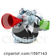 Clipart Of A 3d White Business Kitty Cat Holding A Gas Can On A White Background Royalty Free Illustration