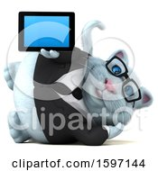 Clipart Of A 3d White Business Kitty Cat Holding A Tablet On A White Background Royalty Free Illustration