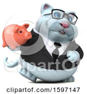Clipart Of A 3d White Business Kitty Cat Holding A Piggy Bank On A White Background Royalty Free Illustration