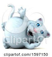 Clipart Of A 3d White Kitty Cat Waving On A White Background Royalty Free Illustration