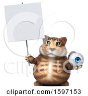 Clipart Of A 3d Tabby Kitty Cat Holding An Eyeball On A White Background Royalty Free Illustration by Julos