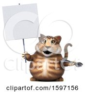 Clipart Of A 3d Tabby Kitty Cat Holding A Wrench On A White Background Royalty Free Illustration by Julos