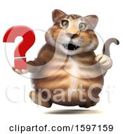 Clipart Of A 3d Tabby Kitty Cat Holding A Question Mark On A White Background Royalty Free Illustration by Julos