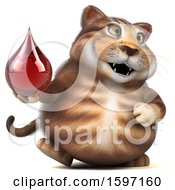 Clipart Of A 3d Tabby Kitty Cat Holding A Blood Drop On A White Background Royalty Free Illustration by Julos