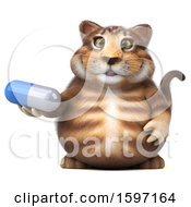 Clipart Of A 3d Tabby Kitty Cat Holding A Pill On A White Background Royalty Free Illustration by Julos