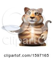 Clipart Of A 3d Tabby Kitty Cat Holding A Plate On A White Background Royalty Free Illustration by Julos
