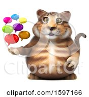 Clipart Of A 3d Tabby Kitty Cat Holding Messages On A White Background Royalty Free Illustration by Julos