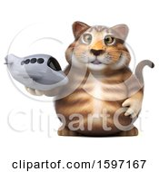 Clipart Of A 3d Tabby Kitty Cat Holding A Plane On A White Background Royalty Free Illustration by Julos