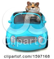 Clipart Of A 3d Tabby Kitty Cat Driving A Convertible On A White Background Royalty Free Illustration by Julos