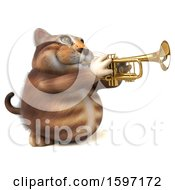 3d Tabby Kitty Cat Playing A Trumpet On A White Background
