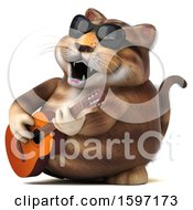 Clipart Of A 3d Tabby Kitty Cat Playing A Guitar On A White Background Royalty Free Illustration by Julos