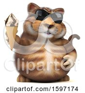 Clipart Of A 3d Tabby Kitty Cat Holding A Waffle Cone On A White Background Royalty Free Illustration by Julos