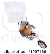 Clipart Of A 3d German Shepherd Dog Biker Riding A Chopper Motorcycle On A White Background Royalty Free Illustration