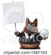3d Business German Shepherd Dog Holding A Golf Ball On A White Background