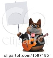 3d Business German Shepherd Dog Holding A Guitar On A White Background