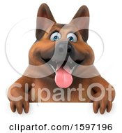 Clipart Of A 3d German Shepherd Dog On A White Background Royalty Free Illustration