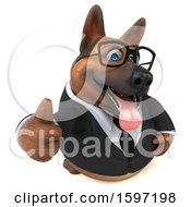 Clipart Of A 3d Business German Shepherd Dog Holding A Thumb Up On A White Background Royalty Free Illustration by Julos