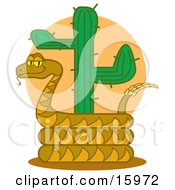 Slithery Rattlesnake Coiled Around A Desert Cactus Clipart Illustration