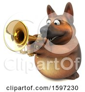 3d German Shepherd Dog Playing A Trumpet On A White Background