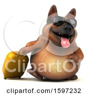 3d German Shepherd Dog Traveling On A White Background