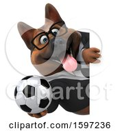 3d Business German Shepherd Dog Holding A Soccer Ball On A White Background