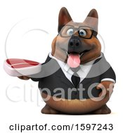 Clipart Of A 3d Business German Shepherd Dog Holding A Steak On A White Background Royalty Free Illustration by Julos