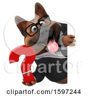 Clipart Of A 3d Business German Shepherd Dog Holding A Question Mark On A White Background Royalty Free Illustration by Julos