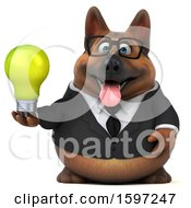 Clipart Of A 3d Business German Shepherd Dog Holding A Light Bulb On A White Background Royalty Free Illustration by Julos