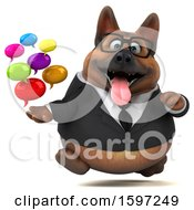 Clipart Of A 3d Business German Shepherd Dog Holding Messages On A White Background Royalty Free Illustration by Julos
