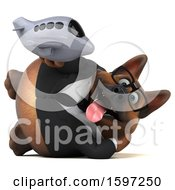 Clipart Of A 3d Business German Shepherd Dog Holding A Plane On A White Background Royalty Free Illustration by Julos