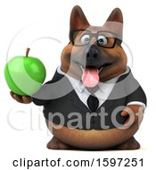 Clipart Of A 3d Business German Shepherd Dog Holding An Apple On A White Background Royalty Free Illustration by Julos