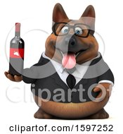 Clipart Of A 3d Business German Shepherd Dog Holding Wine On A White Background Royalty Free Illustration by Julos